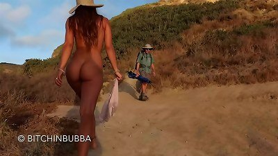 walking bare on the public beach