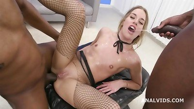 black Pee, Eveline Dellai Vs two big-black-cock with balls Deep Anal, Gapes, piss drink and creampie To swallow GIO1632