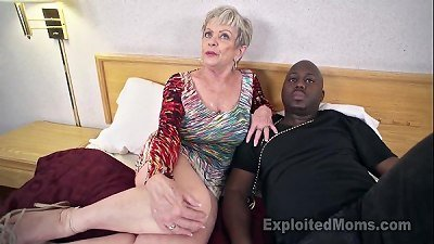 elder grandmother with thick knockers lets a dark-hued spunk-pump spunk inside her creampie vid